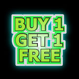 Buy one get one free. The illustration of buy one get one free on back background Royalty Free Stock Photography