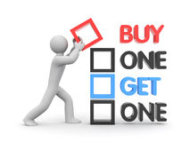 Buy one get one free. Business concept. Separated on white Stock Photo