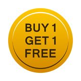Buy one get one free button. Simple illustration of buy one get one free gold yellow button icon on white background stock illustration