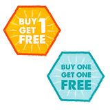 Buy one get one free in grunge flat design hexagons labels. Buy one get one free - text in orange and blue grunge flat design hexagons labels, business shopping Stock Photography