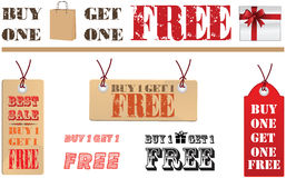 Buy one Get one Free label. Or tag  isolated on white background Royalty Free Stock Image