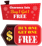 Buy one Get one Free label. Or tag vector with golden dollar sign isolated on white background Royalty Free Stock Images