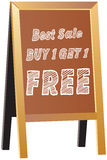 Buy one Get one Free label or tag vector isolated on traditional. Wood framed chalkboard, shop sign or advertisement boards or Pavement Sign, Exhibition Sign Stock Photos