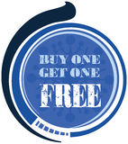 Buy one Get one Free label or tag. Vector isolated on white background Royalty Free Stock Image