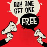 Buy One Get One Free. Megaphone Hand business concept with text Buy One Get One Free, vector illustration Stock Image