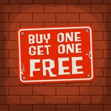 Buy One, Get One Free Poster. Or Banner Abstract Design, vector illustration Royalty Free Stock Photography