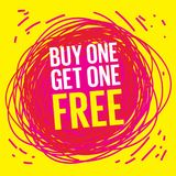Buy One, Get One Free Poster. Or Banner Abstract Design, vector illustration Stock Photography