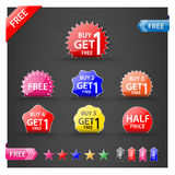Buy one get one free, promotional sale labels set. Stock Photography