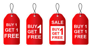 Buy one get one free. Red sale tag Stock Image