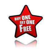Buy one get one free red star banner. Buy one get one free button - 3d red star banner with white text, business concept Royalty Free Stock Image