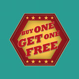 Buy one get one free - retro label. Buy one get one free - retro style blue, ocher, red hexagon label with text and stars, business concept Royalty Free Stock Photography