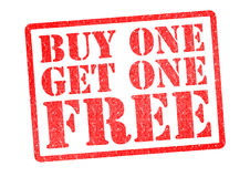 BUY ONE GET ONE FREE Rubber Stamp. Over a white background Royalty Free Stock Photos