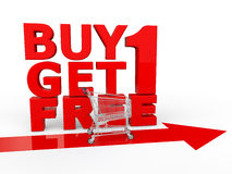 Buy one get one free with shopping cart. 3d render of buy one get one free with shopping cart Royalty Free Stock Photography