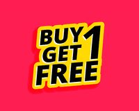 Free Buy One Get One Free Sticker Label Design Stock Photo - 132527140