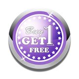 Buy one get one free web button white background. Buy one get one free web icon button of vector illustration on isolated white background Royalty Free Stock Photos