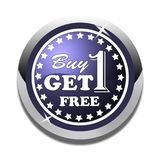 Buy one get one free web button white background. Buy one get one free web icon button of vector illustration on isolated white background Stock Images