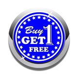 Buy one get one free web button white background. Buy one get one free web icon button of vector illustration on isolated white background Stock Photography