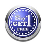 Buy one get one free web button white background. Buy one get one free web icon button of vector illustration on isolated white background Royalty Free Stock Image