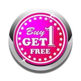 Buy one get one free web button white background. Buy one get one free web icon button of vector illustration on isolated white background Royalty Free Stock Photo
