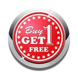 Buy one get one free web button white background. Buy one get one free web icon button of vector illustration on isolated white background Stock Photos