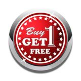 Buy one get one free web button white background. Buy one get one free web icon button of vector illustration on isolated white background Royalty Free Stock Photography