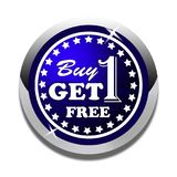 Buy one get one free web button white background. Buy one get one free web icon button of vector illustration on isolated white background Stock Image