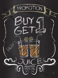 Buy one Get one juice on blackboard Royalty Free Stock Image