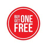 Buy One Get One Off Sign Circular. Red Shop Vector Sign For A Buy One Get One Free Off Clearance royalty free illustration