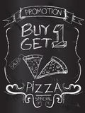 Buy one Get one pizza on blackboard. Vector Art Royalty Free Stock Images