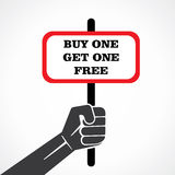 Buy one get one placard holding hand Stock Images