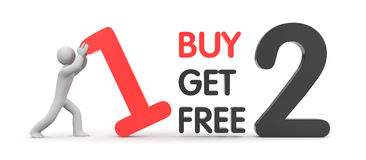 Buy one get two free. Sales and shopping. Separated on white Stock Image