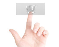 Buy online. Concept with a finger on a button Stock Photography