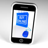 Buy Online Bag Displays Internet Shopping and Buying Royalty Free Stock Photo