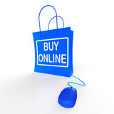 Buy Online Bag Represents Internet Shopping Royalty Free Stock Image