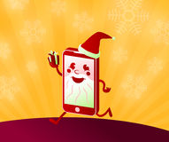 Buy online Christmas presents shopping with smart phone santa claus Royalty Free Stock Photos