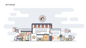 Buy Online Flat line designed banner Stock Images