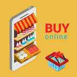 Buy online grocery shopping e-commerce flat 3d isometric vector. Tablet smartphone buy online grocery shopping e-commerce store flat 3d web isometric infographic stock illustration