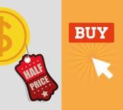 Buy online half price coin banner. Illustration eps 10 Stock Photo
