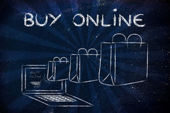 Buy online (illustration of bags coming out of a laptop) Royalty Free Stock Image