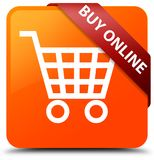Buy online orange square button red ribbon in corner. Buy online  on orange square button with red ribbon in corner abstract illustration Royalty Free Stock Photo