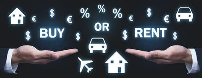 Free Buy Or Rent Concept. Real Estate, Car Rent, Airplane Royalty Free Stock Image - 149769286