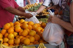 Buy oranges in the fruit market in Spain.  royalty free stock photo