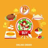 Buy Pizza Round Composition royalty free illustration