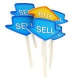 Buy plate in the middle of sell ones isolated Stock Image