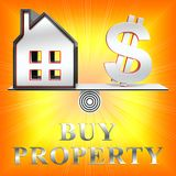 Buy Property Means Real Estate 3d Rendering. Buy Property Dollar Sign Means Real Estate 3d Rendering Royalty Free Stock Photo