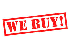 WE BUY!. Red Rubber Stamp over a white background Royalty Free Stock Photos