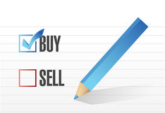 Buy and relax check mark selection. Illustration design Stock Image