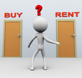 Buy or rent. Doubtful 3d man about buy or rent decision Stock Images
