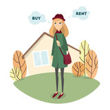 Buy or rent. Beautiful confused woman decides to buy or to rent the house Stock Photo