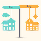 Buy or Rent. Concept of choice between buying and renting. House symbol vector illustration Royalty Free Stock Photography